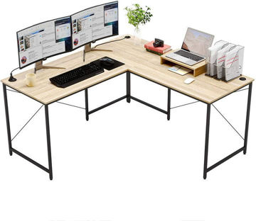 """Picture of Nancy's Eagle Desk - Computer Table - L-Shaped - Monitor Stand - Carved Wood - Metal - Brown/Grey/Oak - Black - 59.4"""" * 23.6"""" * 29.1"""""""