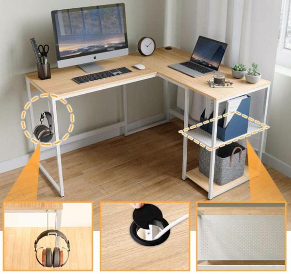 "Picture of Nancy's Somerset Desk - Computer Desk - L-Shaped - Home Office - Storage Shelf - Headphone Hook - Light Oak - White - Particle Board - Metal - 74.7"" L x 19.7""Wx29.7'H"