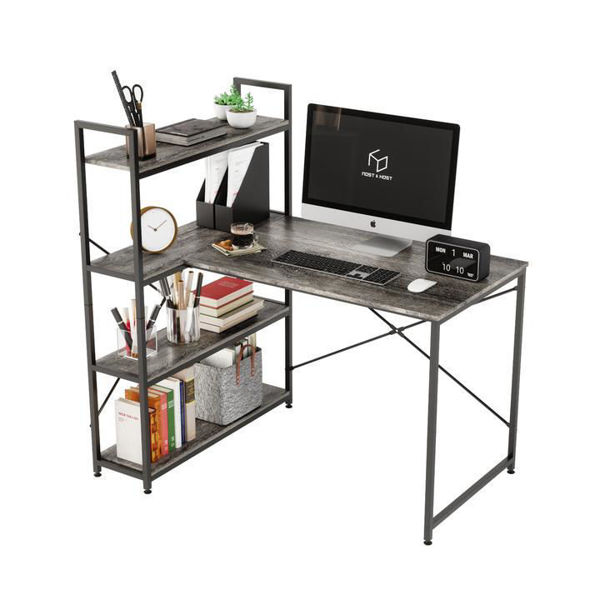 Picture of Nancy's Crofton Desk - Office Desk - Computer Desk - Storage Shelves - 4-Tier - Particle Board - Metal - Oak - 46.06''W x 33.07''D x 47.83 ''H