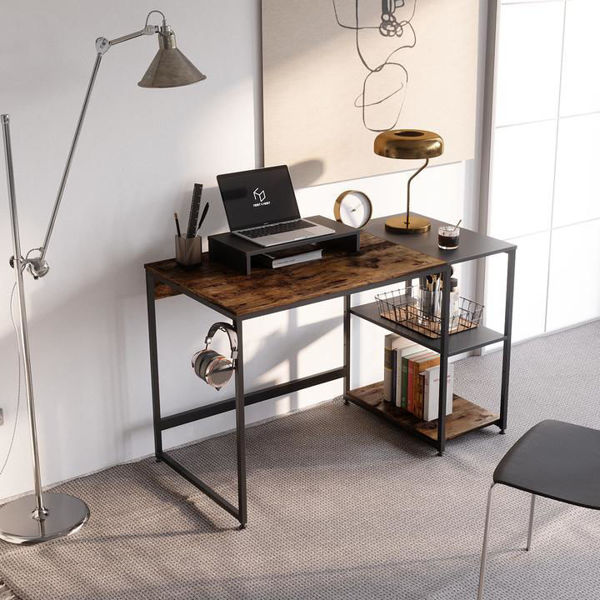 Picture of Nancy's Raytown Desk - Office Desk - Computer Desk - Storage Shelves - Monitor Stand - Headphone Hook - Particle Board - Metal - Rustic Brown - 47.2''L x 23.6''W x 29.7''H / 55.12'' L x 23.62'' W x 29.92'' H