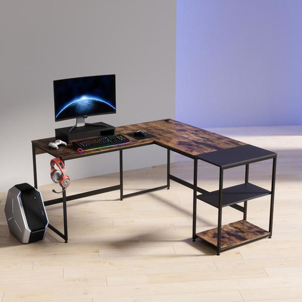 Picture of Nancy's Agawam Desk - Office Desk - Computer Desk - L-Shaped Storage Shelves - Monitor Stand - Headphone Hook - Particle Board - Metal - Rustic Brown - 59''L x 59''W x 32.87''H