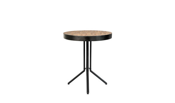 Picture of Nancy's Camp Pendleton South Counter Table - Industrial - Natural, Black - Teak, Steel, Plywood - 75 cm x 75 cm x 93 cm