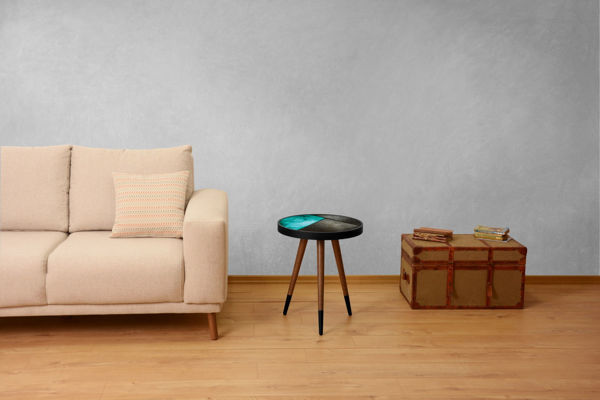 Picture of Nancy's Coppell Side table - Design - Brown, Grey, Blue - Fabricated Wood - 45 cm x 45 cm x 45 cm