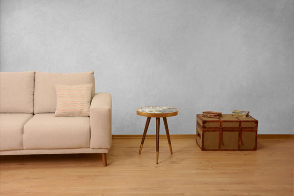 Picture of Nancy's Hurst Side Table - Design - Brown, Gold, White - Fabricated Wood - 45 cm x 45 cm x 45 cm