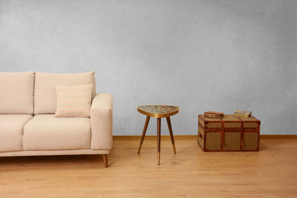 Picture of Nancy's South Valley Side Table - Design - Brown, Gold - Fabricated Wood - 45 cm x 45 cm x 45 cm