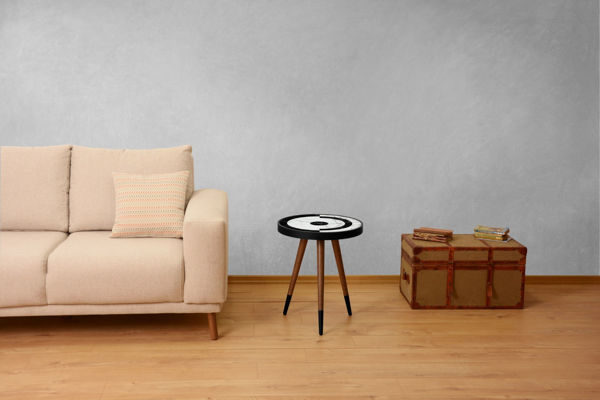 Picture of Nancy's Roy Side table - Design - Brown, Black, White - Fabricated Wood - 45 cm x 45 cm x 45 cm