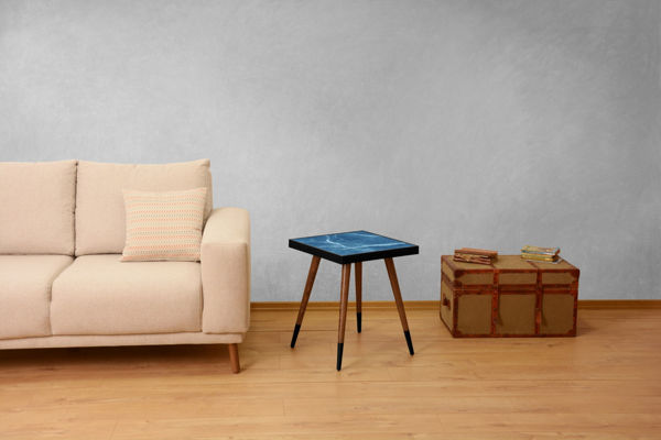 Picture of Nancy's Security-Widefield Side Table - Design - Brown, Black, Blue - Fabricated Wood - 45 cm x 45 cm x 45 cm