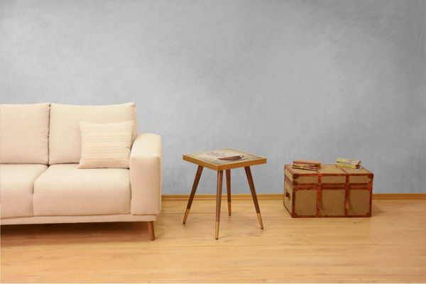 Picture of Nancy's Land O' Lakes Side table - Design - Brown, Gold - Fabricated Wood - 45 cm x 45 cm x 45 cm