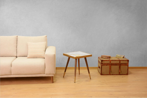 Picture of Nancy's Severna Park Side table - Design - Brown, Gold, White - Fabricated Wood - 45 cm x 45 cm x 45 cm