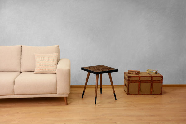 Picture of Nancy's Albertville Side Table - Industrial - Brown, Black - Fabricated Wood - 45 cm x 45 cm x 45 cm
