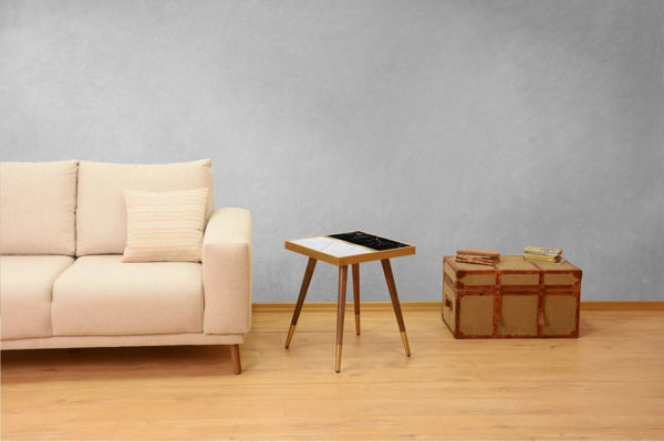 Picture of Nancy's Kailua Side Table - Design - Gold, White, Black - Fabricated Wood - 45 cm x 45 cm x 45 cm