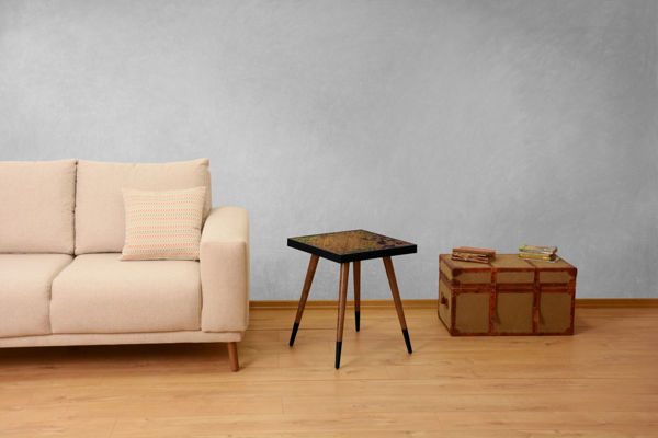 Picture of Nancy's New Town Side table - Vintage - Brown, Black - Fabricated Wood - 45 cm x 45 cm x 45 cm