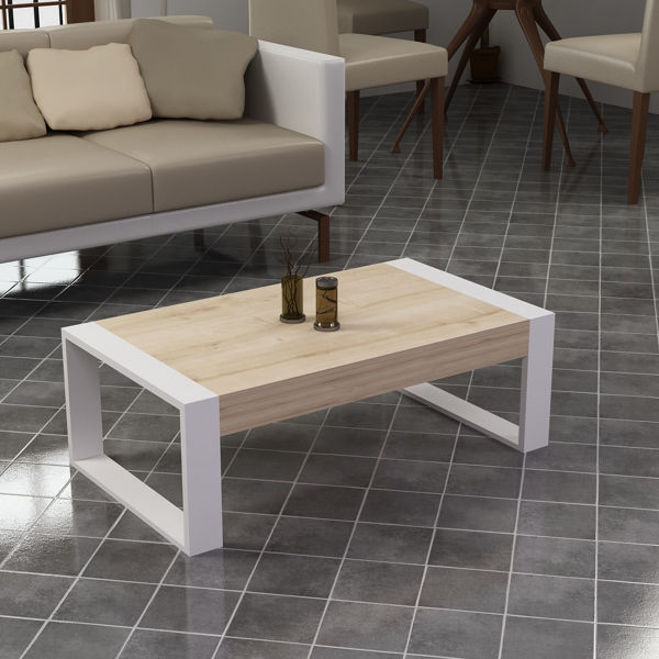 Picture of Nancy's Woodville Coffee Table - Scandinavian - Brown, White - Fabricated Wood - 50 cm x 90 cm x 40 cm