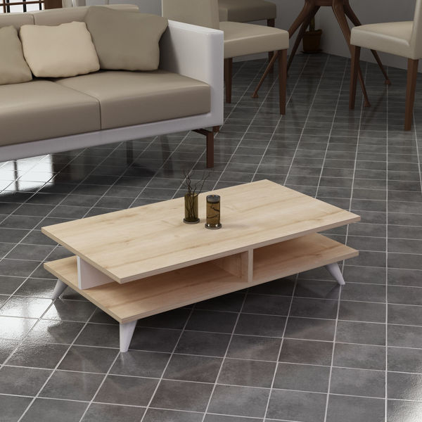 Picture of Nancy's Reidsville Coffee Table - Scandinavian - Brown, White - Fabricated Wood - 50 cm x 90 cm x 27.6 cm