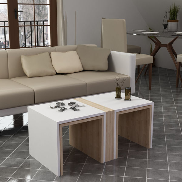 Picture of Nancy's Southern Pines Coffee Table - Scandinavian - White, Brown - Fabricated Wood - 50 cm x 90 cm x 41.8 cm