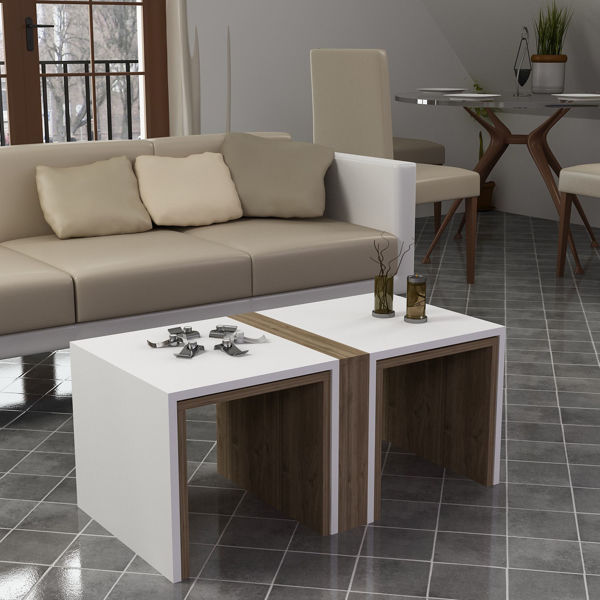 Picture of Nancy's Pembroke Pines Coffee Table - Scandinavian - White, Brown - Fabricated Wood - 50 cm x 90 cm x 41.8 cm