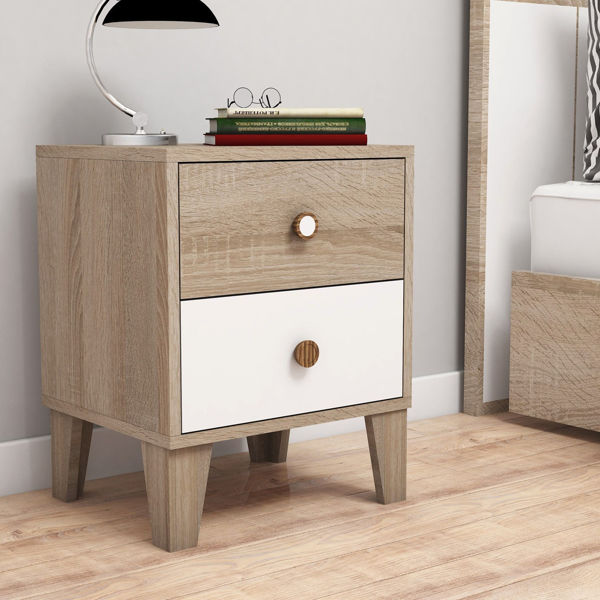 Picture of Nancy's Lawrenceburg Bedside Table - Scandinavian - Brown, White - Fabricated Wood - 45 cm x 37.5 cm x 56.1 cm