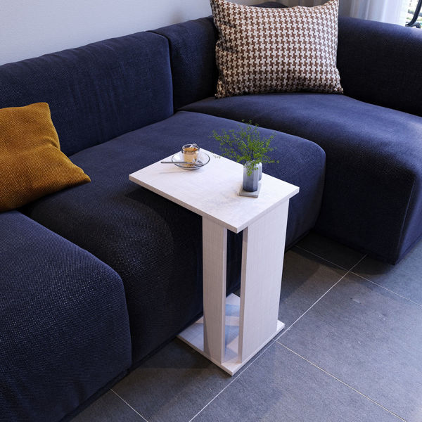 Picture of Nancy's Chamberlain Side table - Modern - White, Grey - Fabricated Wood - 45 cm x 35 cm x 61 cm