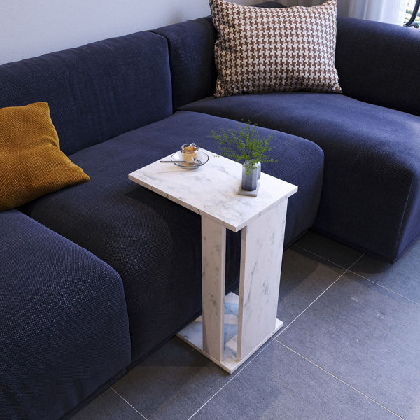 Picture of Nancy's Plankinton Side Table - Modern - White, Grey - Fabricated Wood - 45 cm x 35 cm x 61 cm