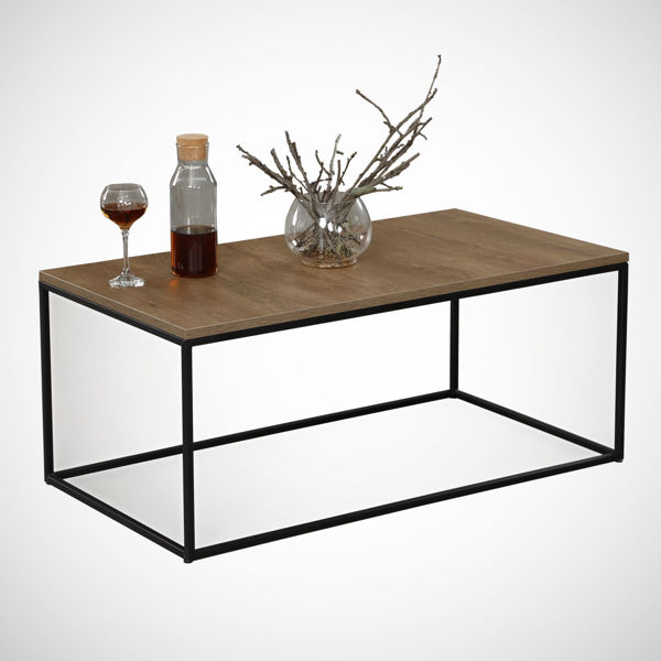 Picture of Nancy's West Valley City Coffee Table - Modern - Brown, Black - Fabricated Wood, Metal - 55 cm x 95 cm x 43 cm
