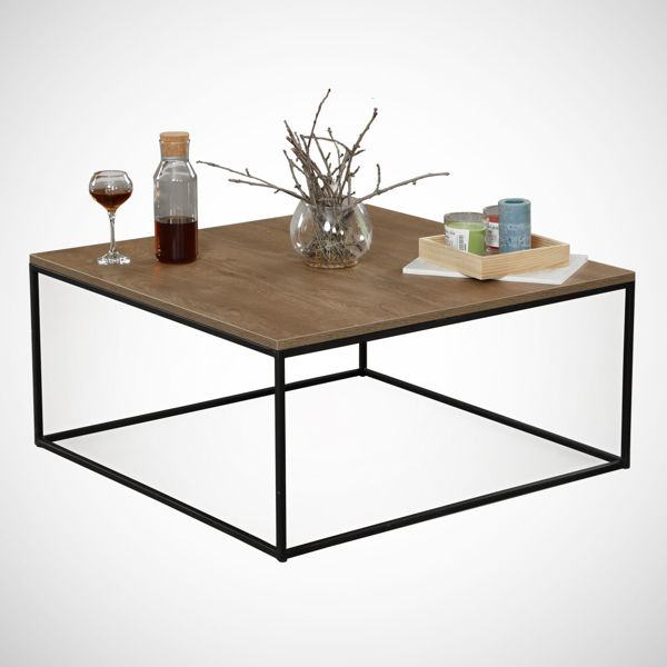 Picture of Nancy's Sterling Heights Coffee Table - Modern - Brown, Black - Fabricated Wood, Metal - 75 cm x 75 cm x 43 cm