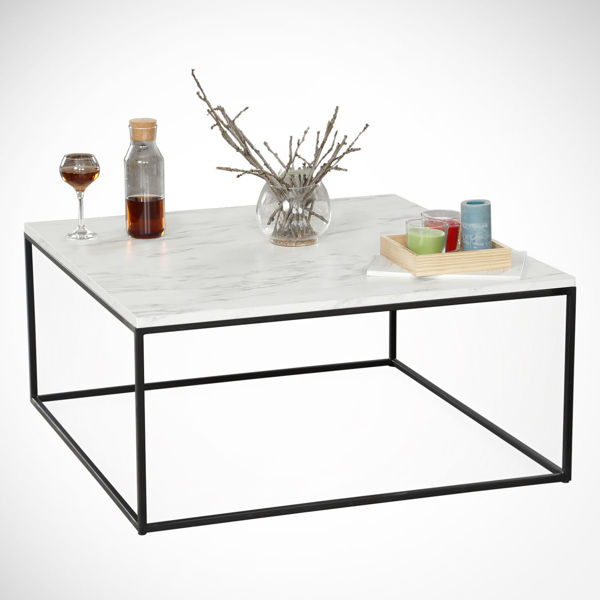Picture of Nancy's Citrus Heights Coffee Table - Modern - White, Black - Fabricated Wood, Metal - 75 cm x 75 cm x 43 cm