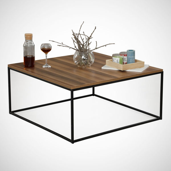 Picture of Nancy's South Miami Heights Coffee Table - Modern - Brown, Black - Fabricated Wood, Metal - 75 cm x 75 cm x 43 cm
