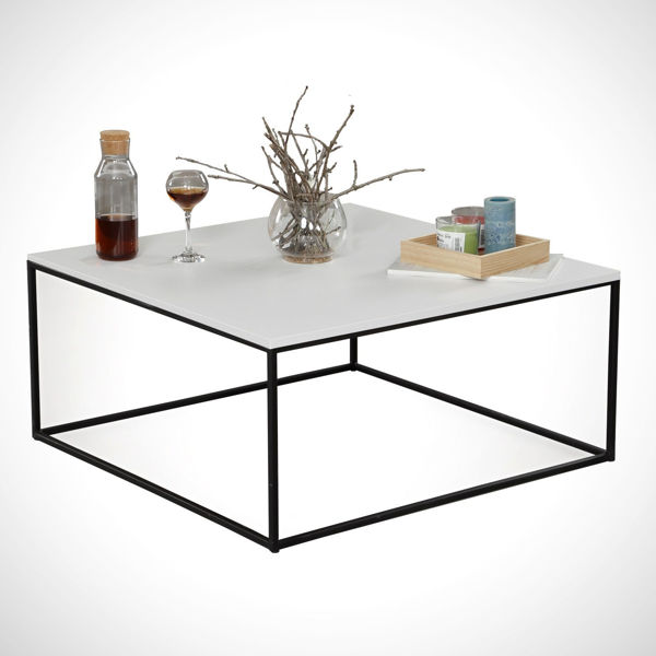Picture of Nancy's Inver Grove Heights Coffee Table - Modern - White, Black - Fabricated Wood, Metal - 75 cm x 75 cm x 43 cm