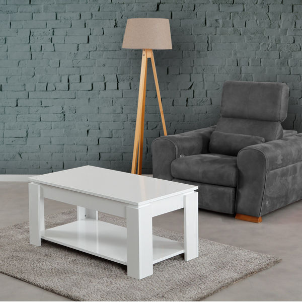 Picture of Nancy's South Gate Coffee Table - Scandinavian - White - Fabricated Wood - 56 cm x 104 cm x 47 cm