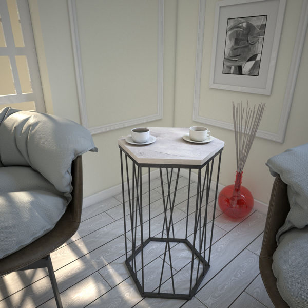 Picture of Nancy's Baldwin Park Side table - Design - Brown - Fabricated Wood, Metal - 35 cm x 40 cm x 62 cm