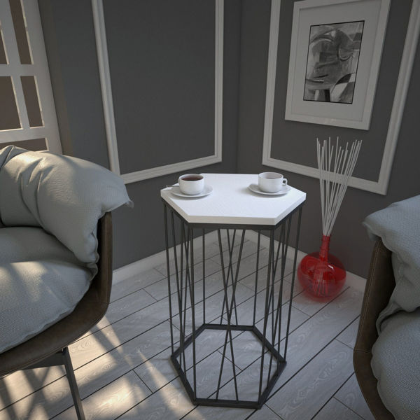 Picture of Nancy's Brooklyn Park Side Table - Design - White - Fabricated Wood, Metal - 35 cm x 40 cm x 62 cm