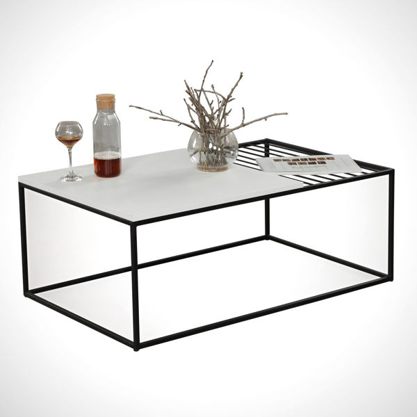 Picture of Nancy's The Village of Indian Hill Coffee Table - Modern - White, Black - Fabricated Wood, Metal - 55 cm x 95 cm x 43 cm