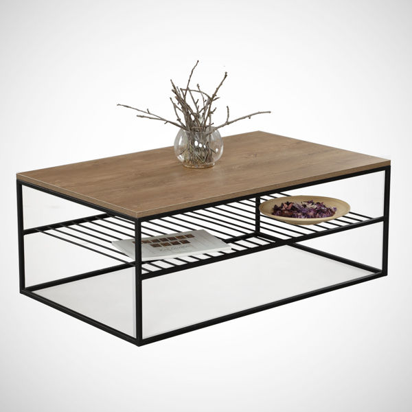 Picture of Nancy's Round Lake Beach Coffee Table - Design - Brown, Black - Fabricated Wood, Metal - 55 cm x 95 cm x 43 cm