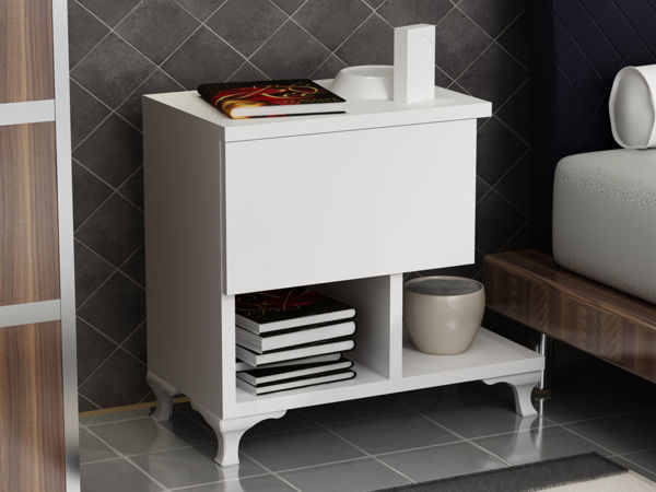 Picture of Nancy's Ilion Bedside Table - Modern - White - Fabricated Wood - 33 cm x 46.8 cm x 46.8 cm