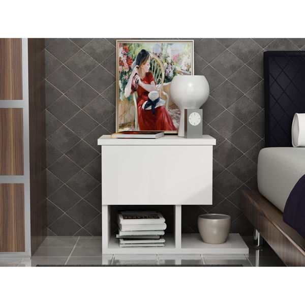 Picture of Nancy's Hornell Bedside Table - Modern - White - Fabricated Wood - 33 cm x 46.8 cm x 36.8 cm