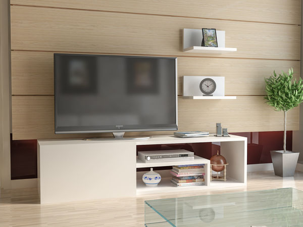 Picture of Nancy's North Port TV Furniture - Modern - White - Fabricated Wood - 29.6 cm x 120 cm x 29.3 cm