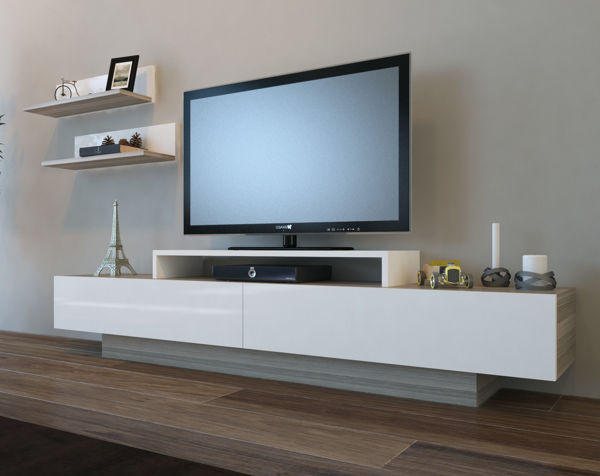 Picture of Nancy's Kissimmee TV Furniture - Modern - White, Grey - Fabricated Wood - 31 cm x 180 cm x 40 cm