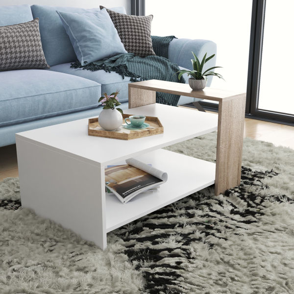 Picture of Nancy's Schaumburg Coffee Table - Modern - White, Brown - Fabricated Wood - 60 cm x 90 cm x 50 cm