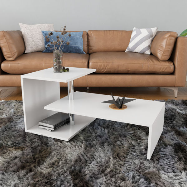 Picture of Nancy's Coeur d'Alene Coffee Table - Modern - White - Fabricated Wood - 50 cm x 100 cm x 46 cm
