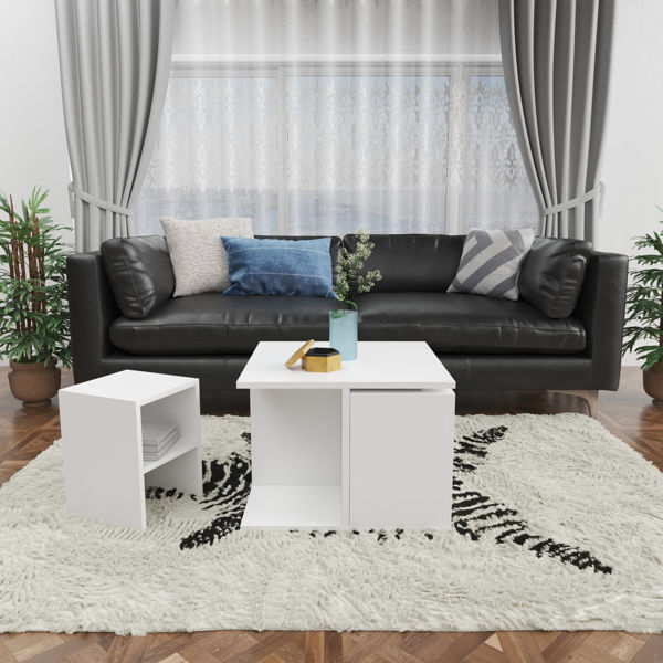 Picture of Nancy's Gaithersburg Coffee Table - Modern - White - Fabricated Wood - 60 cm x 60 cm x 42 cm