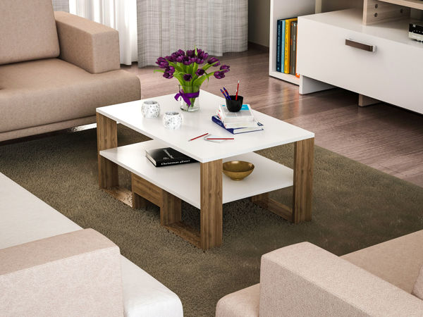 Picture of Nancy's Town 'n' Country Coffee Table - Modern - White, Brown - Fabricated Wood - 60 cm x 90 cm x 45 cm