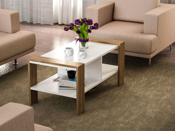 Picture of Nancy's Plantation Coffee Table - Modern - White, Brown - Fabricated Wood - 60 cm x 90 cm x 42 cm