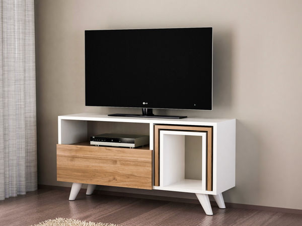 Picture of Nancy's Milford City TV Furniture - Modern - White, Brown - Fabricated Wood - 51 cm x 90 cm x 29.5 cm