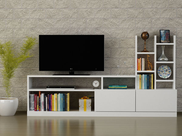 Picture of Nancy's Lee's Summit TV Furniture - Modern - White - Fabricated Wood - 25 cm x 165 cm x 91.3 cm