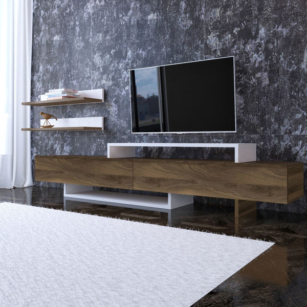 Picture of Nancy's League City TV Furniture - Design - Brown, White - Fabricated Wood - 31.3 cm x 180 cm x 42 cm