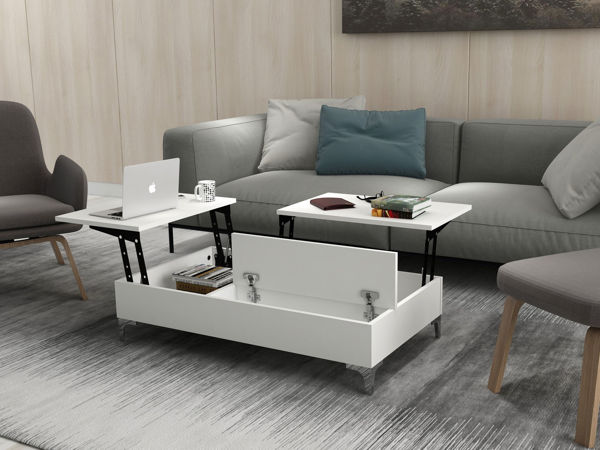 Picture of Nancy's North Miami Coffee Table - Modern - White - Fabricated Wood - 121 cm x 69.2 cm x 28 cm