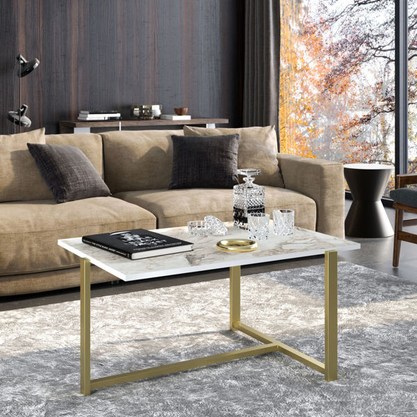 Picture of Nancy's Pico Rivera Coffee Table - Industrial - Gold, White - Fabricated Wood - 45 cm x 92 cm x 64 cm