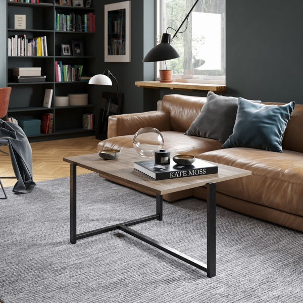 Picture of Nancy's Mayagüez Coffee Table - Industrial - Brown, Black - Fabricated Wood - 45 cm x 92 cm x 64 cm