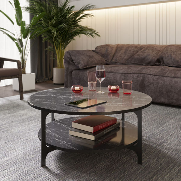 Picture of Nancy's St. Clair Shores Coffee Table - Modern - Black - Fabricated Wood, Metal - 36.8 cm x 90 cm x 90 cm