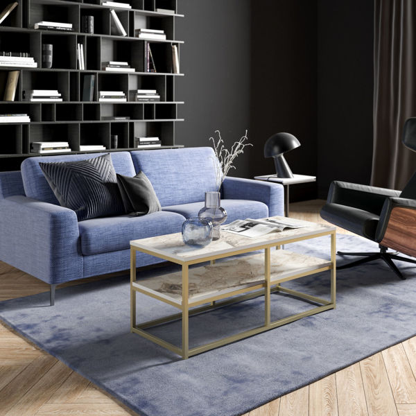 Picture of Nancy's St. Peters Coffee Table - Modern - Gold, White - Fabricated Wood, Metal - 47 cm x 110.4 cm x 52 cm